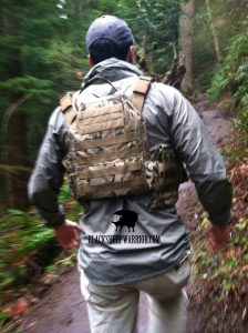 tactical backpack in the mountains
