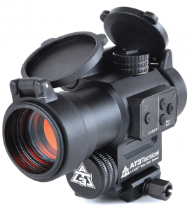 at3 leos red dot sight with laser fron view